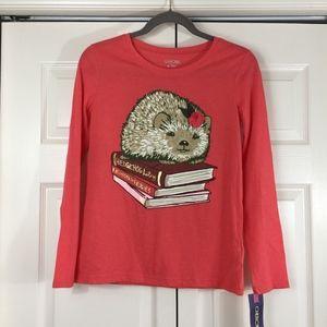 Feminine hedgehog shirt long sleeves cute books